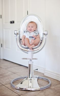 http://www.shoppingkidstoys.com/category/high-chair/ Bloom Fresco high chair. Coolest high chair ever. Even swivels 360 to use as bassinet etc