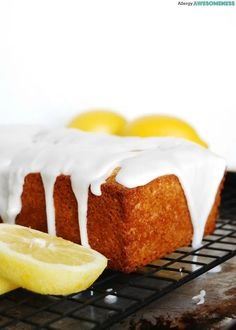A sweet bread with a soft crumb drizzled in a thick, lemony-sweet glaze. Perfect for breakfast, brunch or just a delicious snack. This citrus confection is free of: gluten, dairy, egg, soy, peanut