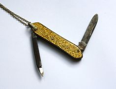 VINTAGE TINY KNIFE gold glitter antique miniature by ingramcecil, $75.00