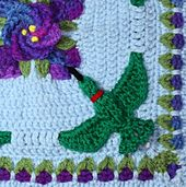 Crochet hummingbird is life size made with overlay crochet, not applique hummingbirds.  Granny square hummingbirds are worked into the rounds.  You get a nice crochet flower pattern for the spiral flower too.