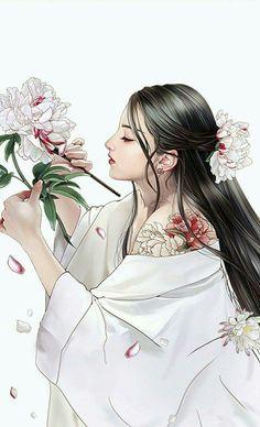 Credit to the Artist Manga Girl, Anime Art Girl, Theme Tattoo, Geisha Art, Beautiful Fantasy Art, Painting Of Girl, China Art, Image Manga, Japan Art