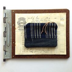 handmade vintage Japanese indigo stripe cotton and denim Coin & Card Pouch via Den & Delve Shop