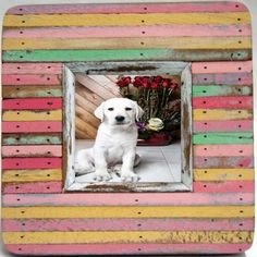 Vertical striped multi color w/ pinks recycled wood single (pic: 4x4)(out: 8x8)  $41.00