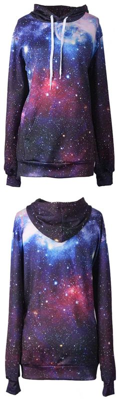 This print is so amazing, we all love it.  A big world is taken awayby your youth and fashion.You must be dazzling with this special Space Travel Hooded Sweatshirt. Come over for more fashion at Cupshe.com