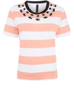 Mother of Pearl Coral Juno Embellished Cotton-Jersey T-Shirt