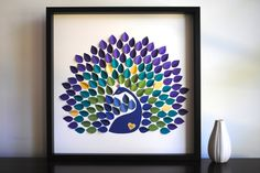 Peacock Wedding Guest Book Personalized Peacock by SuzyShoppe Diy Canvas Art, Diy Wall Art, Diy Art, Diy And Crafts, Paper Crafts, Arts And Crafts, Books Decor, Pista Shell Crafts, Paint Chip Art