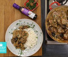 Ψαρονέφρι αλά κρεμ με μανιτάρια   Συνταγή   Argiro.gr - Argiro Barbarigou Food Categories, Greek Recipes, Stuffed Mushrooms, Pork, Food And Drink, Rice, Meat, Chicken, Cooking