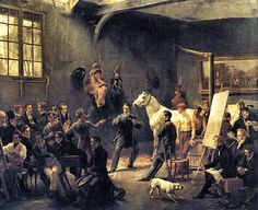 Horace Vernet, L'atelier de M. Horace Vernet. Oil on Canvas. The most extraordinary example of political censorship of the period occurred in 1822 when all Horace Vernet's submitted paintings to the salon were rejected for political reasons. Vernet reacted by opening his own counter-exhibition in his atelier, exhibiting 45 paintings. This painting belongs to them.