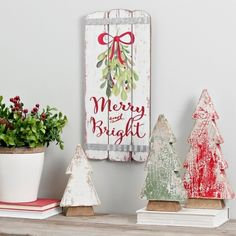 Merry and Bright Wooden Plank Wall Plaque