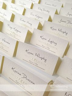 Ivory Wedding Stationery | Bespoke Design - Basic Place Cards | Featuring ivory pebble paper, bridal white satin ribbon and pretty bow embellishment with pearls | Luxury handmade wedding invitations and stationery #byenchanting