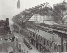 Broad Street Station was the PRR's downtown terminal in Philadelphia. It opened in 1881 and brought 16 tracks into its immense trainshed by 1892. It also included the PRR general offices. Unfortunately, the fire pictured in this June 11, 1923 photograph caused the removal of the trainshed.  Another fire in September, 1943 caused major damage, but the terminal's replacements had already been built by then. – photograph by The PRR – from Classic Trains, Fall 2012, page 90.