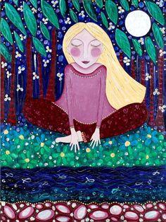 """Ragazza bionda che meditating stampa yoga meditazione arte whimsical Folk art pittura decorazione della parete Inspirational - """"Toccare la terra"""""""