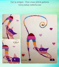 Yiota's Cross Stitch: Modern cat free cross stitch pattern