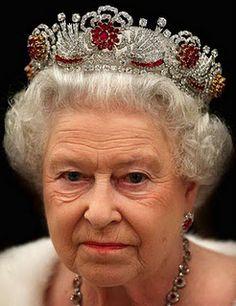HM Queen Elizabeth II of Great Britian wearing the Burmese Ruby Parure