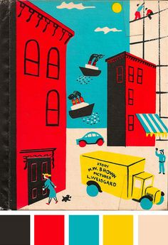 This illus­tra­tion is an excerpt from Noisy Book, a vin­tage children's story by Margaret Wise Brown & Leonard Weisgard, which was dis­cov­ered and cat­a­loged by Jill Casey.