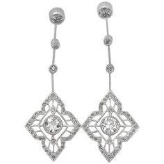 Preowned 1910s Art Deco 1.93 Carat Diamond Platinum Earrings ($5,240) ❤ liked on Polyvore featuring jewelry, earrings, dangle earrings, multiple, antique diamond earrings, platinum diamond earrings, butterfly dangle earrings and diamond stud earrings