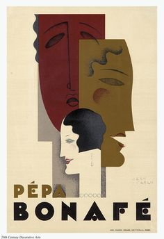 1928 French poster design by Jean Carlu for the actress Pépa Bonafé