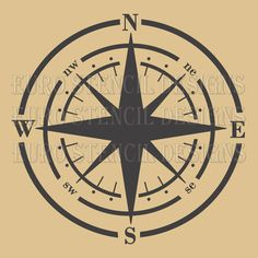 Euro Stencil Design ... Compass Shabby Chic  French used for burlap pillows, bedding, sign painting ... 12 x 12  inches. $40.00, via Etsy.