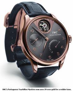 IWC Portuguese Tourbillon rose gold watches for men designer wrist watches on Timex Watches, Men's Watches, Cool Watches, Fashion Watches, Watches Online, Diamond Watches, Ladies Watches, Dream Watches, Luxury Watches