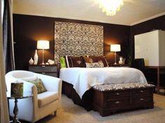 Eye Candy: 10 Luscious Brown Bedrooms | Curtain headboards, Dark ...