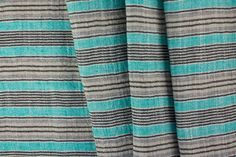 Britex Fabrics -  Midweight Crinkled Turquoise & Smoke Striped Crinkled Linen  LIMITED STOCK - Linen - Fabric