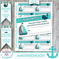Sailboat Diaper Raffle Tickets, Whale Diaper Raffle, Diaper Raffle Nautical, Ahoy Its a Boy, Navy and Aqua,  INSTANT DOWNLOAD PRINTABLE by charmcitycharm on Etsy