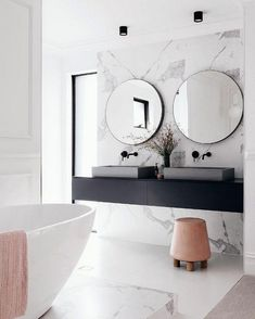 marble bathroom wall cladding, vanity top floating in black . White Bathroom, Modern Bathroom, Elegant Bathroom Decor, Asian Bathroom, Master Bathroom, Bathroom Wall Cladding, Bathroom Splashback, Bathroom Cabinets, Bathroom Inspiration
