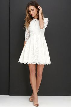 Romance and whimsy will always accompany you and the Love Letter Ivory Lace Dress! Eyelash lace dress has three-quarter sleeves, and pleated skater skirt. Hoco Dresses, Trendy Dresses, Homecoming Dresses, Sexy Dresses, Cute Dresses, Fashion Dresses, Dresses With Sleeves, Formal Dresses, Banquet Dresses