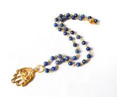 Lapislazuli rosary style with Hand of Fatima by Thingsfromtheheart, $43.00