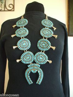 Huge NAVAJO Ceremonial Nickel Silver & Block Cluster Turquoise Squash Blossom Necklace | eBay