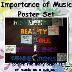"""Importance of Music Poster Set: promote some of the key aspects of music that make it such an important subject for all students. Includes acrostic for """"music"""" with movement, beauty, soul, intelligence, and connections with full-page explanations of each. Advocates music for it's own qualities. Great for hallway display to show administrators, students, and parents. Perfect for Music in our Schools Month or year round!"""