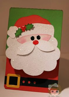 My Crafting Channel: Paper Playtime SparklePopped Out Santa Face and Flat Santa Suit Christmas CardWant to know more about Homemade Christmas CardsGo to the webpage to read more on Christmas Craft Ideas Handmade Christmas Tree, Homemade Christmas Cards, Christmas Tree Cards, Holiday Cards, Christmas Crafts, Christmas Decorations, Santa Crafts, Christmas Holiday, Christmas Ornaments