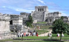 Tulum Ruins - Mayan ruins in Quintana Roo, Mexico.  The Castillo is the tallest building, the steps don't look near as steep as they are until you start climbing them.