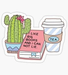 """""""Cactus, Books, and Tea"""" Stickers by livpaigedesigns Stickers Cool, Tumblr Stickers, Printable Stickers, Laptop Stickers, Journal Stickers, Planner Stickers, Applis Photo, Aesthetic Stickers, Cute Drawings"""