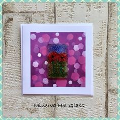 Fused Glass Greeting Card, Handmade, Red Poppy Flower, Floral Gifts, Hand crafted by Minerva Hot Glass Glass Wall Art, Fused Glass Art, Red Poppies, Tea Light Holder, Greeting Cards Handmade, Glass Ornaments, Tea Lights, Poppy, Flower