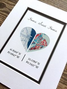Home Sweet Home -Personalized Map Art- First Anniversary or Wedding Gift…