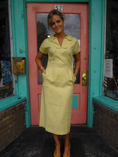 1940s Vintage Jerry Gilden Linen Dress