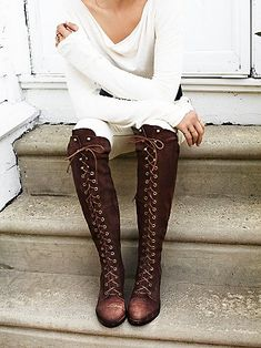 Jesse Lace Up Over The Knee Boot | Higher heel version of FP Fave Joe Lace Up, this suede over-the-knee lace-up boot features metal eyelet detailing. Short zipper on the inner side and a stacked wooden heel. *By Jeffery Campbell for Free People
