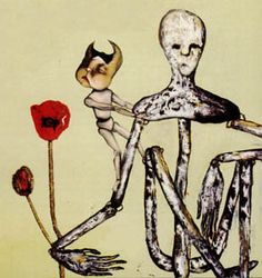 Kurt Cobain did this oil on canvas painting of a marionette cradling a poppy flower in the crook of it's arm, whilst a child-like marionette doll clings to it's shoulder, used for the cover of Incesticide.