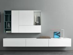 Mueble modular de pared composable lacado SLIM 3 by Dall'Agnese diseño Imago Design, Massimo Rosa