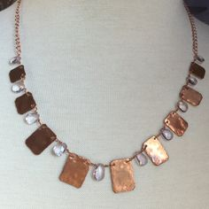 Faceted amethyst and copper squares wire wrapped necklace by mooliemarket on Etsy