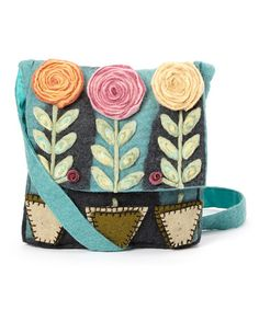 Love this Blue & Pink Rose Garden Wool Crossbody Bag by Rising Tide on #zulily! #zulilyfinds