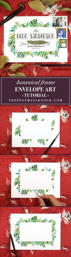 If you're looking for a fresh envelope art concept to try, you'll appreciate this botanical frame tutorial! It will help you to hone your watercolor skills, and the end result is beautiful and vibrant.