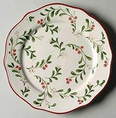 Better Homes and Garden Mistletoe Dinner and Salad plates. Not my favorite of all the choices for dinner plates. Christmas China, Christmas Dishes, Cozy Christmas, Wood Napkin Holder, Oblong Tablecloth, Christmas Dinnerware, Ceramic Painting, Better Homes And Gardens, Mistletoe