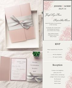 blush pink and gray wedding color inspired pocket wedding invitations for 2015
