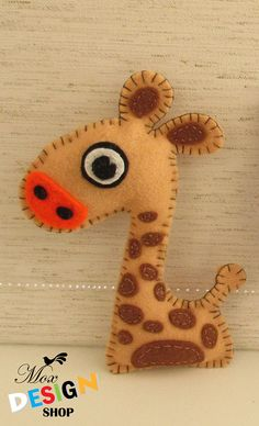 Giraffe Stuffed Toy // Felt Softie // Plush toy // Nursery decor // Baby Kids art // Kids room decor