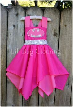 Custom Boutique Clothing Super Hero Bat Girl Hot Pink Silver Sequence BIrthday Costume