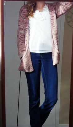 Long pink cardie over top of a white pretty top
