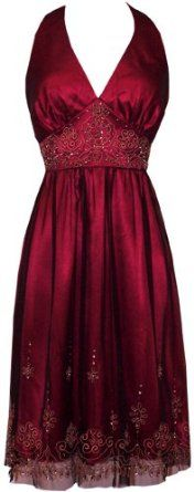 Amazon.com: Beaded Mesh Satin Holiday Gown Party Cocktail Prom Halter Dress: Clothing