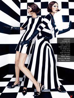 """Mono Clone"" | Models: Hyun Yi Lee & Ji Hye Park, Photographer: Jang Hyun Hong, Vogue Korea, February 2013"